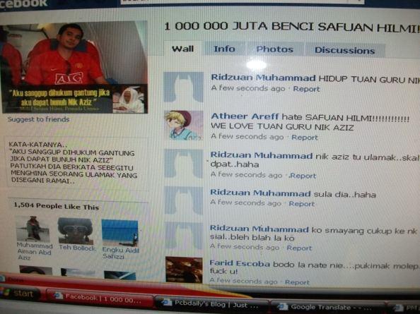 1000 000 benci safuan di akaun facebooknya sendiri